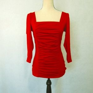 Boston Proper Red Ruched Front Top Shirt Sz XS